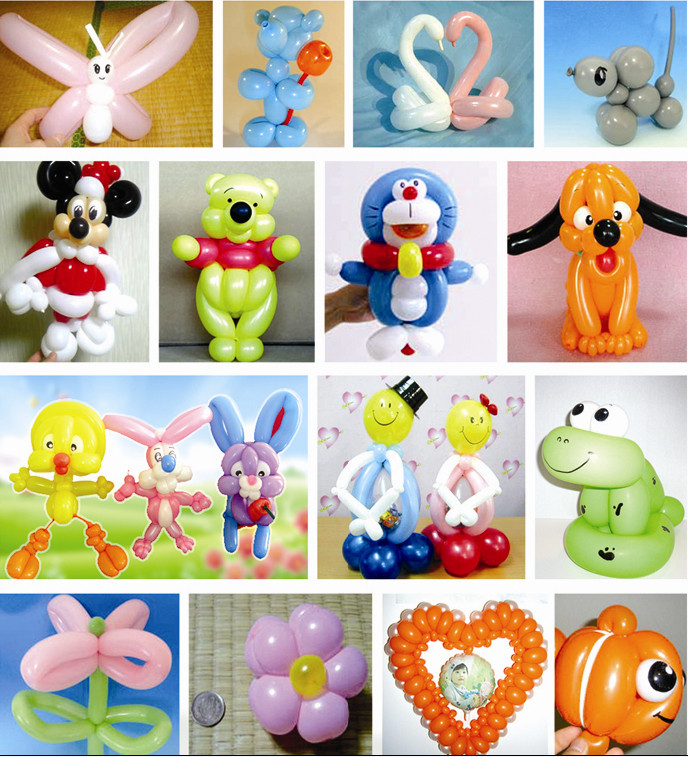 主要学习20多种中型动物,卡通人物等多种气球艺术造型的编制.
